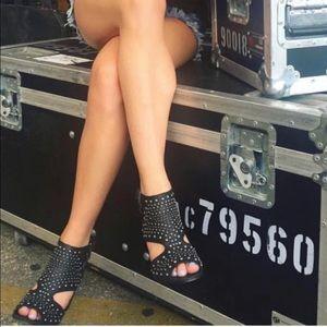 NIB Black Peep Toe Genuine Leather Studded Sandals